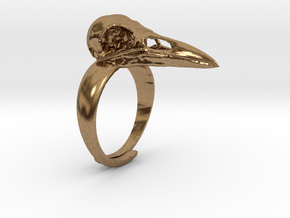 Crow Ring With Logo in Raw Brass
