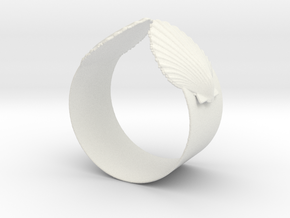 Napkin Scallop Ring in White Strong & Flexible