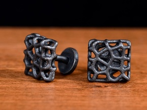 Organic Square Cufflinks in Matte Black Steel