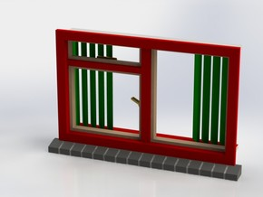 Window with vertical shutters, scale 1 1:32 1:35 5 in White Strong & Flexible