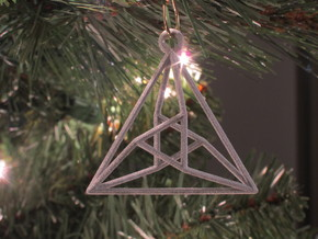 Triangle Christmas Ornament in White Strong & Flexible