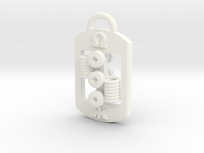 Dog Tag RDA Pendant in White Strong & Flexible Polished