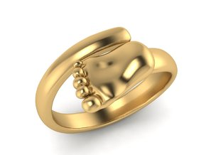 Newborn baby foot ring in Polished Brass