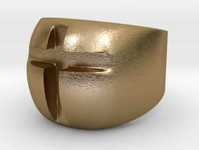 Cross Ring in Polished Gold Steel