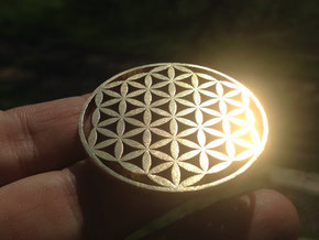 Flower of Life Heavy Duty Thick Pendant in Raw Brass