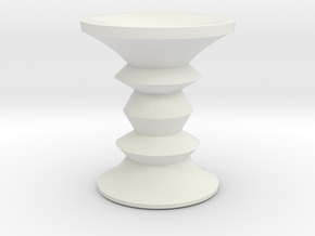 1:24 Eames Walnut Stool in White Strong & Flexible