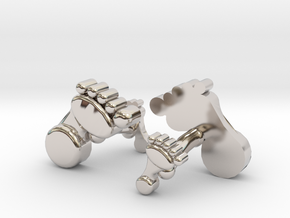 Dad And Baby Feet Cufflinks in Rhodium Plated