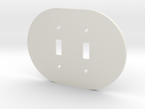 plodes® 2 Gang Toggle Switch Wall Plate in White Strong & Flexible