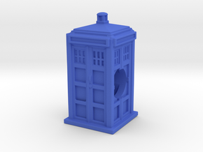 Tardis Bead - Mini Tardis with hole in Blue Strong & Flexible Polished