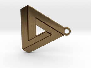 Penrose triangle hanger in Raw Bronze