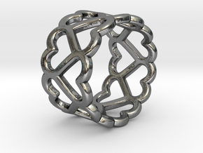 The Ring of Hearts (14 Hearts) Size: Japanese 9 in Polished Silver