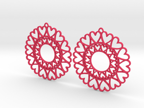 Circle Hearts Earrings in Pink Strong & Flexible Polished
