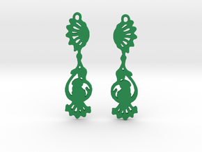 Peacock Earrings in Green Strong & Flexible Polished