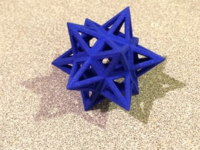 Small Stellated Dodecahedron 0.3 (inch) in Blue Strong & Flexible Polished
