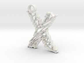 """Sketch """"X"""" Pendant in White Strong & Flexible"""