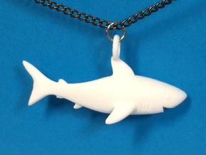 Shark Necklace Pendant in White Strong & Flexible Polished