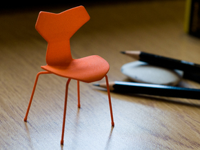 Grand Prix Style Stacking Chair 1/12 Scale in Orange Strong & Flexible Polished