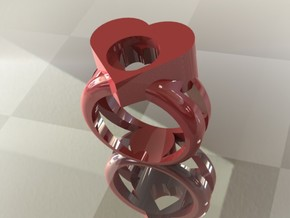 ring of hearts in Red Strong & Flexible Polished