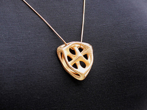 Key of Space Pendant (#1673) in Polished Gold Steel