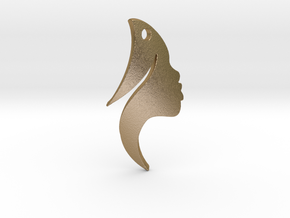 Earing Girl silhouette in Polished Gold Steel
