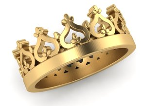Crown ring in Polished Gold Steel