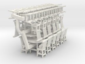 Rustic Chairs, Tables and Bar Stools HO Scale in White Strong & Flexible