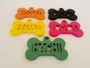 Bone Pet ID Tag - Hachi in Green Strong & Flexible Polished