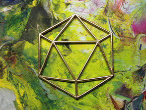 Icosahedron Pendant 40mm in Raw Brass