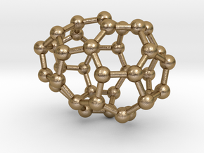 0082 Fullerene c38-1 c2 in Polished Gold Steel