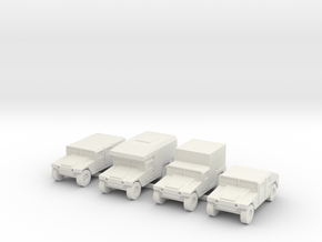 1/144 12mm scale Humvee HMMWV Hummer 4 types in White Strong & Flexible