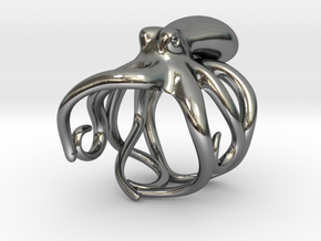 Octopus Ring 19mm in Polished Silver