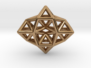 Deltahedron Toroid Pendant in Polished Brass