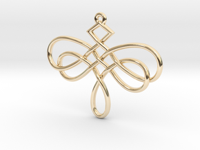 Dragonfly Celtic Knot Pendant in 14k Gold Plated