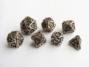 'Twined' Dice Gaming Die Set +10D10/Decader 7 dice in Stainless Steel