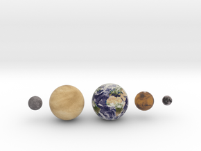 Mercury, Venus, Earth, Moon & Mars to scale v.2 in Full Color Sandstone
