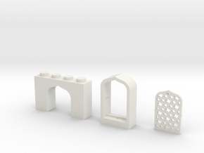 Set of Arabian Window Brick, Frame and Lattice in White Strong & Flexible