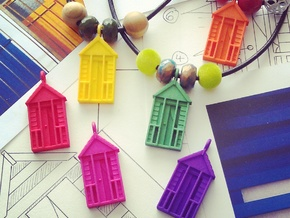 'Beach Hut' Strong and Flexible Plastic Pendant in Purple Strong & Flexible Polished