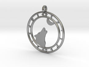 Wolf head with ring of runes in Raw Silver