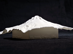 4'' Mt. Hood Terrain Model, Oregon, USA in White Strong & Flexible