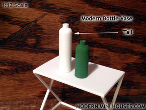 Bottle Vase Tall in White Strong & Flexible Polished