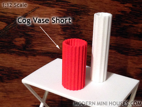 Cog Vase Short 1:12 scale in Orange Strong & Flexible Polished