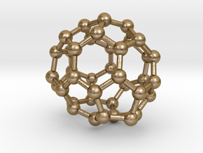 0092 Fullerene c38-11 c1 in Polished Gold Steel