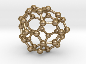 0093 Fullerene c38-12 c2v in Polished Gold Steel