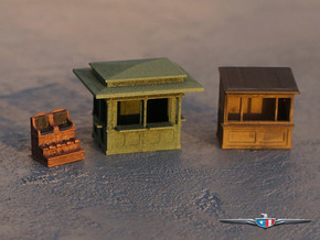 N Scale (1:160) Newsstands and Shoe Shine Stand in Frosted Ultra Detail