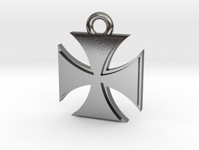 Iron Cross Pendant in Polished Silver