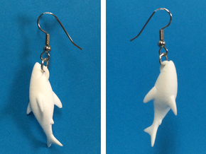 Shark Clinging On Earrings in White Strong & Flexible Polished