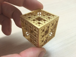 NewMenger Cube in Polished Gold Steel