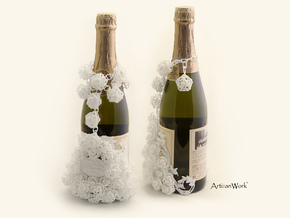 Bouquet - Champagne / Wine Bottle Sleeve (Part 2) in White Strong & Flexible Polished