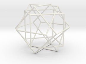 3 Cube Compound, round struts in White Strong & Flexible