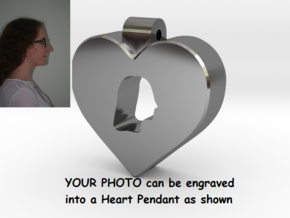 Heart Pendant Engraved with YOUR PHOTO in Premium Silver